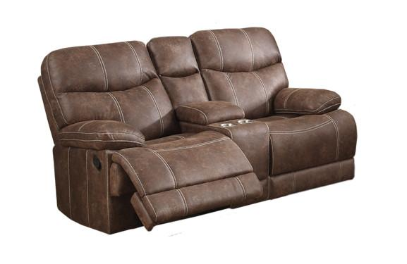 Emerald Home FurnishingsEarl Reclining Console Loveseat, Brown U7128-09-25