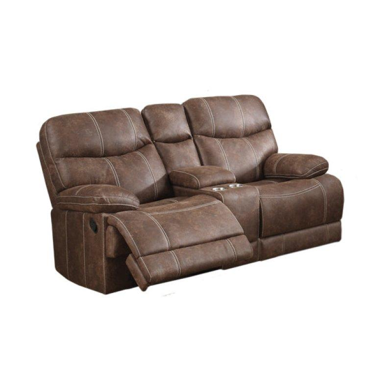 Earl Reclining Console Loveseat, Brown U7128-09-25