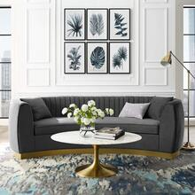 Enthusiastic Vertical Channel Tufted Curved Performance Velvet Sofa in Gray