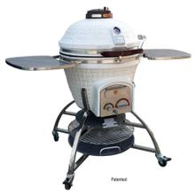 White Icon Kamado With Storage Cart