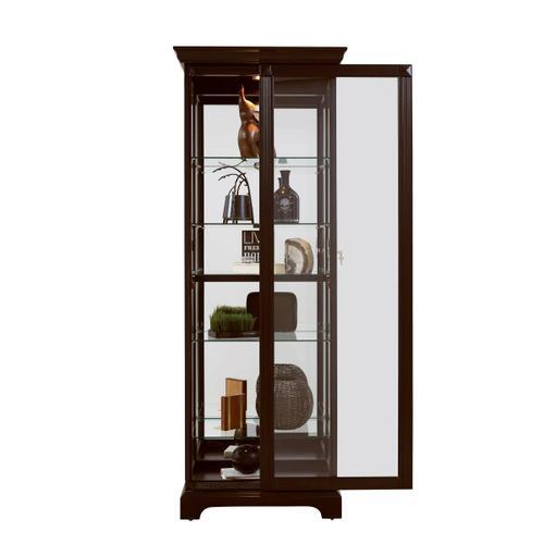 Pulaski Furniture - Locking Slide Door 5 Shelf Curio Cabinet in Deep Cherry Brown