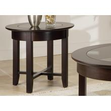 View Product - Demilune Round End Table w/Glass Top
