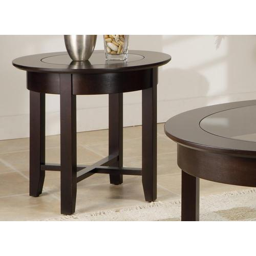 - Demilune Round End Table w/Glass Top