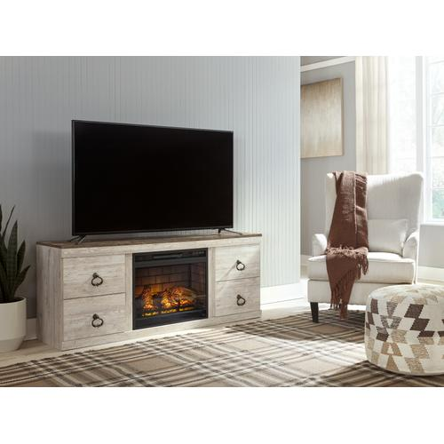 """Signature Design By Ashley - Willowton 63"""" TV Stand With Electric Fireplace"""