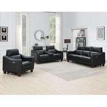 See Details - Giorno 3-Piece Leather Reclining Upholstery Set, Midnight (Sofa, Loveseat and Recliner)