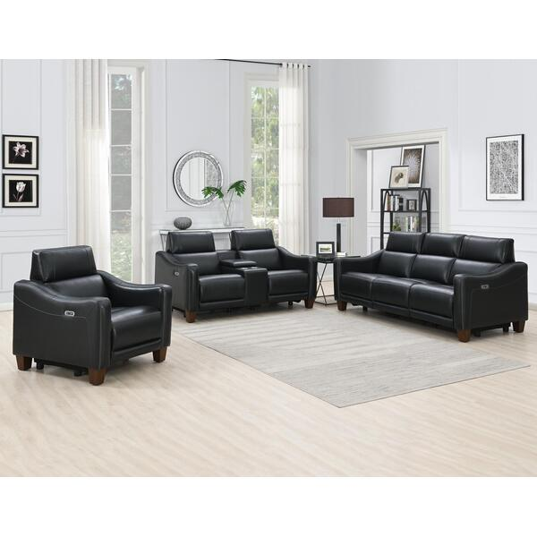 Giorno 3-Piece Leather Reclining Upholstery Set, Midnight (Sofa, Loveseat and Recliner)