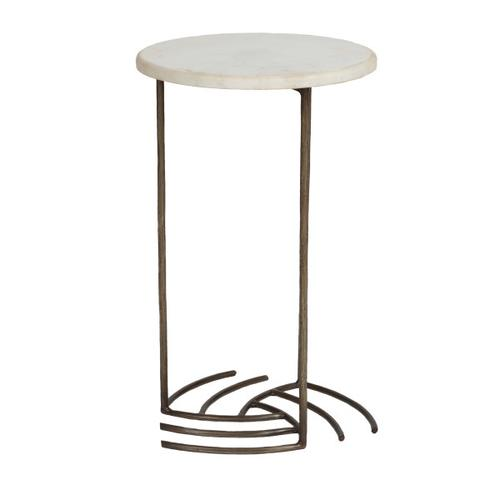 Iron Side Table with Marble Top