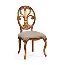 Sheraton style oval back chair with brass details (Side)