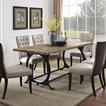 Effuse Rectangle Wood Top Dining Table in Brown