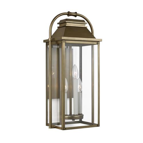Wellsworth Medium Lantern Painted Distressed Brass