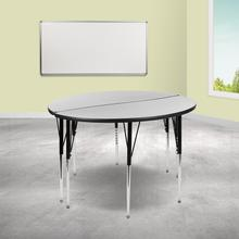 """See Details - 2 Piece 47.5"""" Circle Wave Flexible Grey Thermal Laminate Activity Table Set - Standard Height Adjustable Legs"""