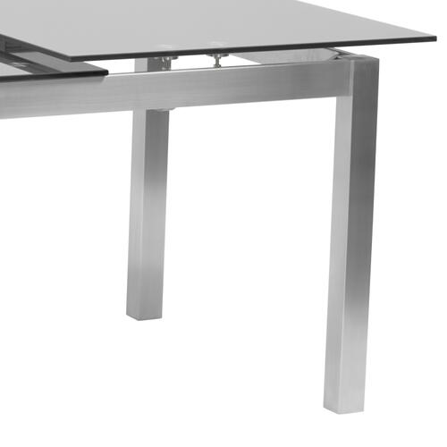 Armen Living Ivan Extension Dining Table in Brushed Stainless Steel and Gray Tempered Glass Top