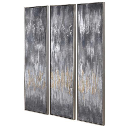 Gray Showers Hand Painted Canvases, S/3