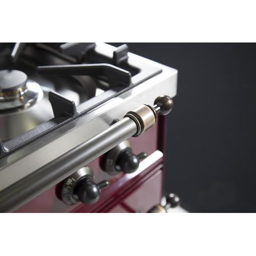Nostalgie 36 Inch Dual Fuel Natural Gas Freestanding Range in Burgundy with Bronze Trim