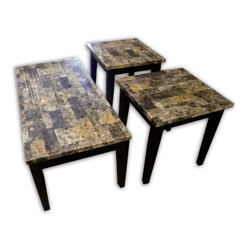 Gallery - Breccia Faux Marble Coffee & End Table Set