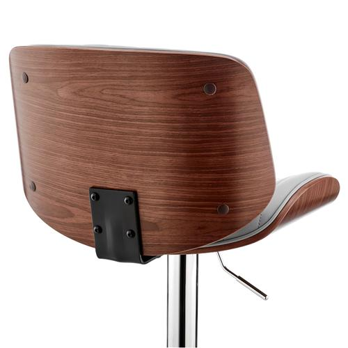 Armen Living - Brock Adjustable Grey Faux Leather and Walnut Wood with Chrome Finish Bar Stool
