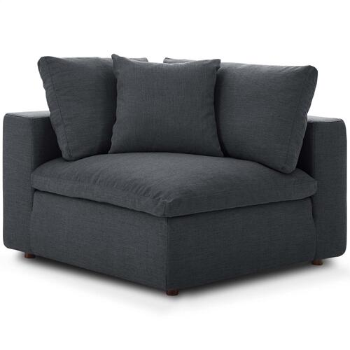 Commix Down Filled Overstuffed Corner Chair in Gray