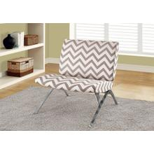 "ACCENT CHAIR - DARK TAUPE "" CHEVRON "" WITH CHROME METAL"