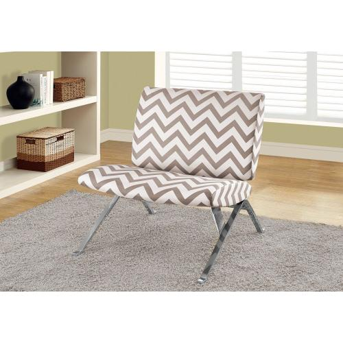"""Gallery - ACCENT CHAIR - DARK TAUPE """" CHEVRON """" WITH CHROME METAL"""