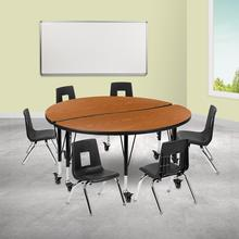 """Mobile 47.5"""" Circle Wave Collaborative Laminate Activity Table Set with 12"""" Student Stack Chairs, Oak\/Black"""