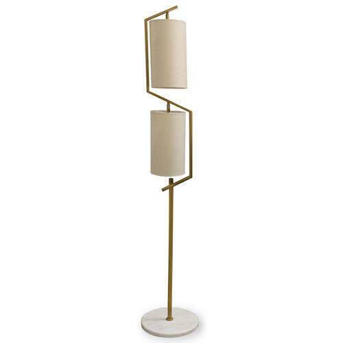 ANTIQUE BRASS WITH NATURAL MARBLE  12in w. X 65in ht. X 12in d.  Gold and White Two Tier Shaded Fl