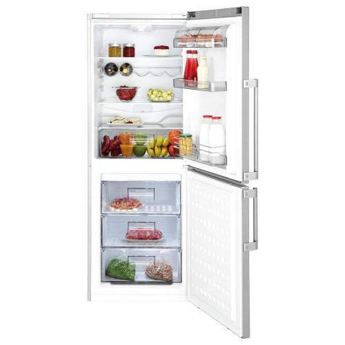 "24"" Bottom Freezer/Fridge 10,4 cuft, white doors, stainless handles, Led Illumination"