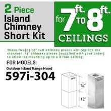 ZLINE Short Kit for Ceilings Under 8 feet ISLAND-Outdoor (SK-597i-304)