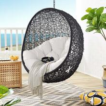 Encase Sunbrella® Fabric Swing Outdoor Patio Lounge Chair Without Stand in Black White