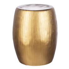 Brushed Gold Etched Drum Table