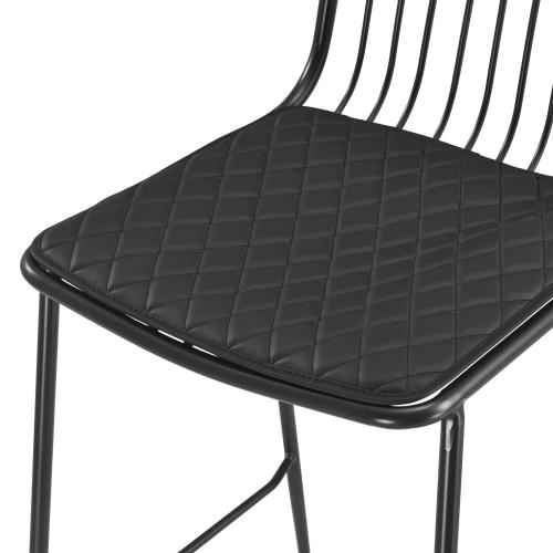 Thomas Metal Counter Stool Black Cushion, Metallic Gunmetal