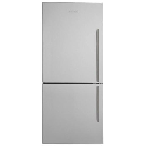 View Product - 30in Width Bottom Freezer/Fridge 18 cuft, wrapped stainless doors, stainless handles