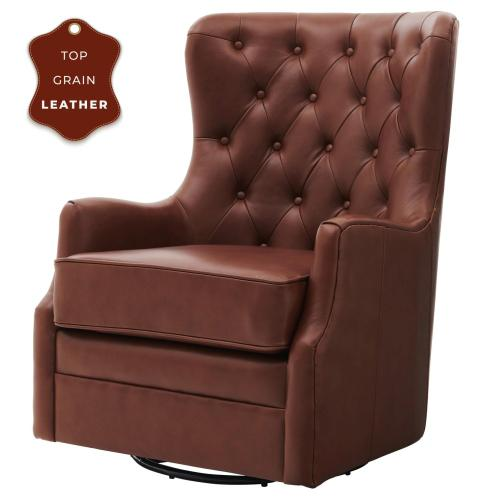 Anthony Top Grain Leather Swivel Rocker Tufted Accent Arm Chair, Garrett Brown