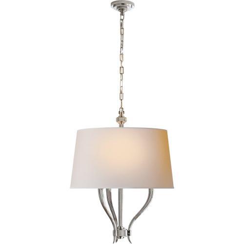 Visual Comfort CHC2463PN-NP E. F. Chapman Ruhlmann 3 Light 22 inch Polished Nickel Hanging Shade Ceiling Light