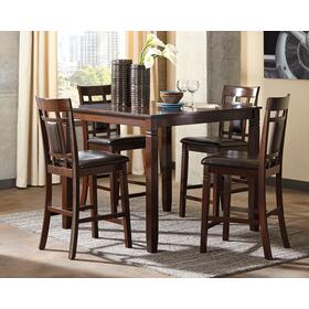 Bennox Counter Height Table & 4 Bar Stools Brown