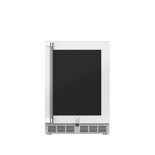"24"" Hestan Outdoor Dual Zone Refrigerator with Wine Storage (UV-Coated Glass Door) - GRWG Series - Froth"
