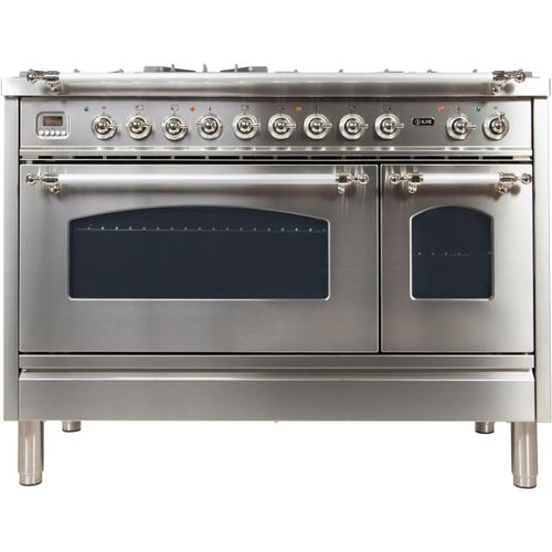 Nostalgie 48 Inch Dual Fuel Natural Gas Freestanding Range in Stainless Steel with Chrome Trim