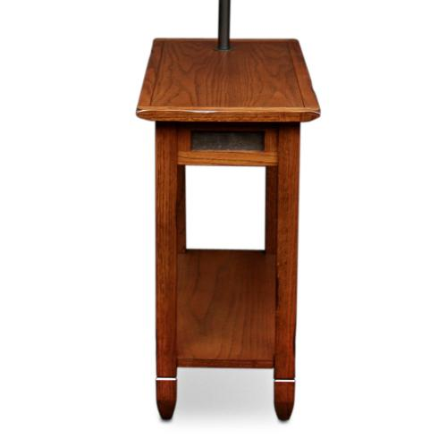 Gallery - Rustic Slate Tile Chairside Swing Arm Lamp Table with Burlap Shade #10025