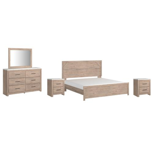 Gallery - King Panel Bed With Mirrored Dresser and 2 Nightstands