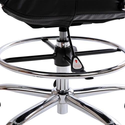 Gallery - Mid-Back Black LeatherSoft Drafting Chair with Adjustable Foot Ring and Chrome Base