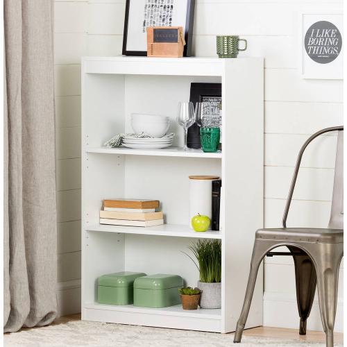 3-Shelf Bookcase - Pure White