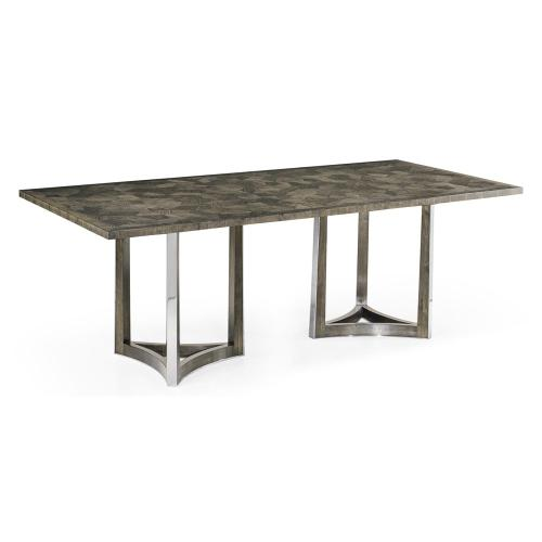 "84"" Gatsby Contemporary Rectangular Grey Natural Eucalyptus & Stainless Steel Dining Table with Random Cut Top"