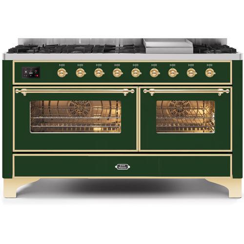 Ilve - Majestic II 60 Inch Dual Fuel Liquid Propane Freestanding Range in Emerald Green with Brass Trim