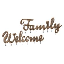 See Details - Welcome and Family Wall Hooks - Set of 2