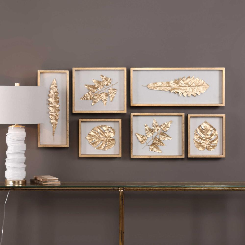 See Details - Golden Leaves Shadow Boxes, S/6