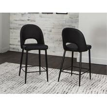 "CR-545-24-2  24"" Black Barstools  Counter Height Stools  Upholstered  Set of 2"
