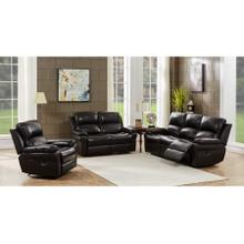 See Details - Marco Black Leather Reclining Sofa, Loveseat & Chair, ML7641