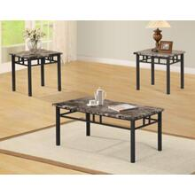3PC FAUX MARBLE METAL BASE C/E TABLE SET