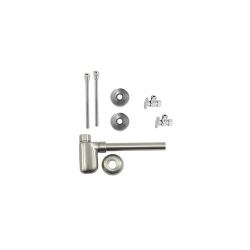"""Lavatory Supply Kit w/ Decorative Trap - Angle - Oval Handle - 1/2"""" Compression (5/8"""" O.D.) Inlet x 3/8"""" O.D. Compression Outlet - Polished Brass"""
