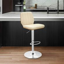 Sabine Adjustable Swivel Cream Faux Leather with Walnut Back and Chrome Bar Stool