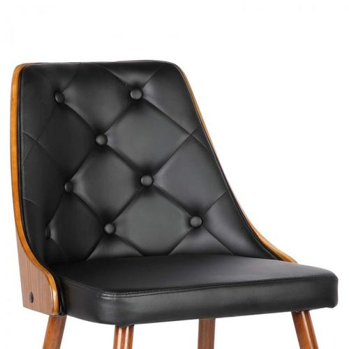 Armen Living Lily Mid-Century Dining Chair in Walnut Finish and Black Faux Leather